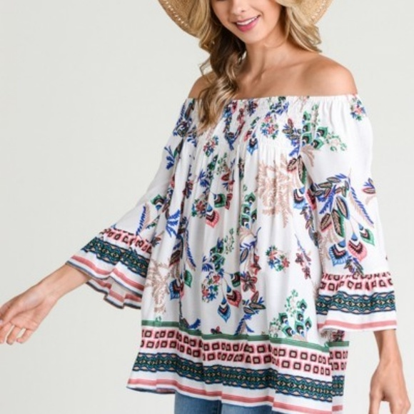 2aa366b7f69604 NWT JODIFL FLORAL OFF SHOULDER BELL SLEEVE TOP